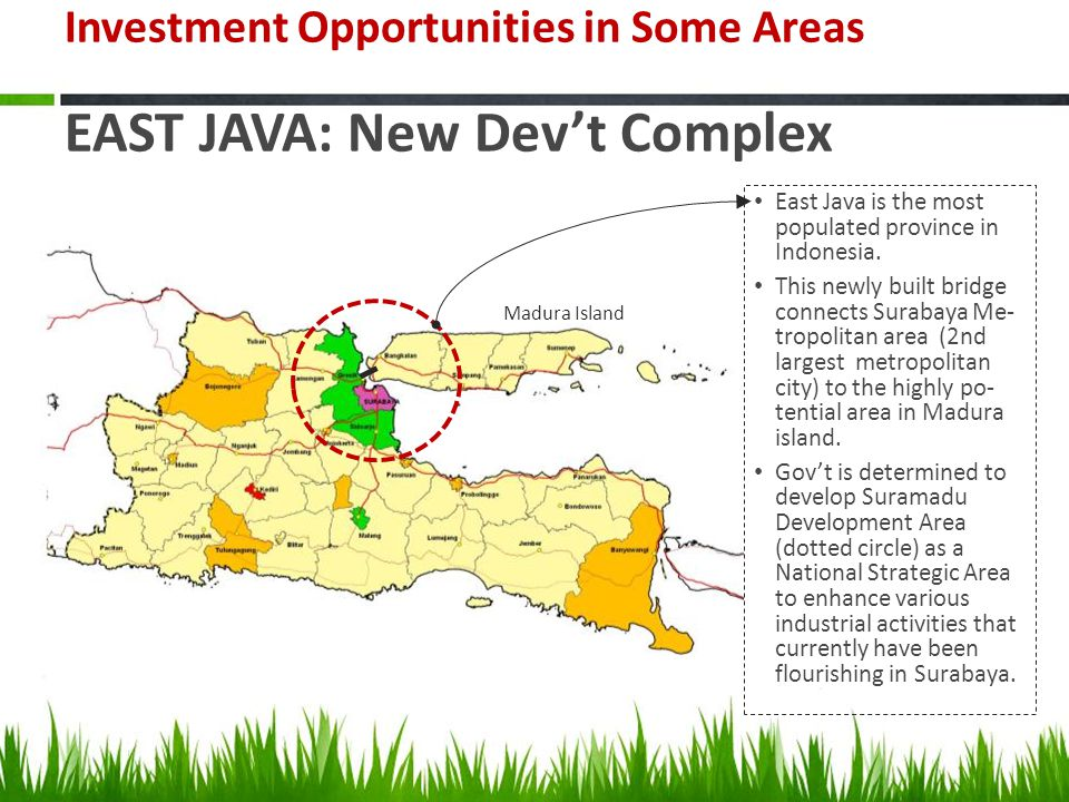 Investment Opportunities in Some Areas EAST JAVA: New Dev't Complex