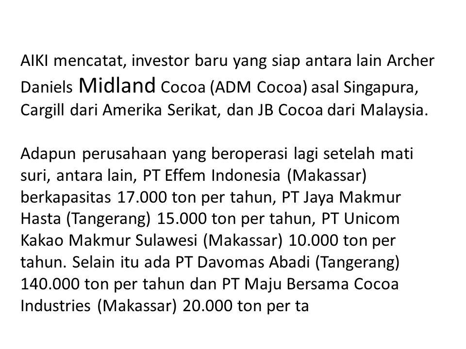 AIKI mencatat, investor baru yang siap antara lain Archer Daniels Midland Cocoa (ADM Cocoa) asal Singapura, Cargill dari Amerika Serikat, dan JB Cocoa dari Malaysia.