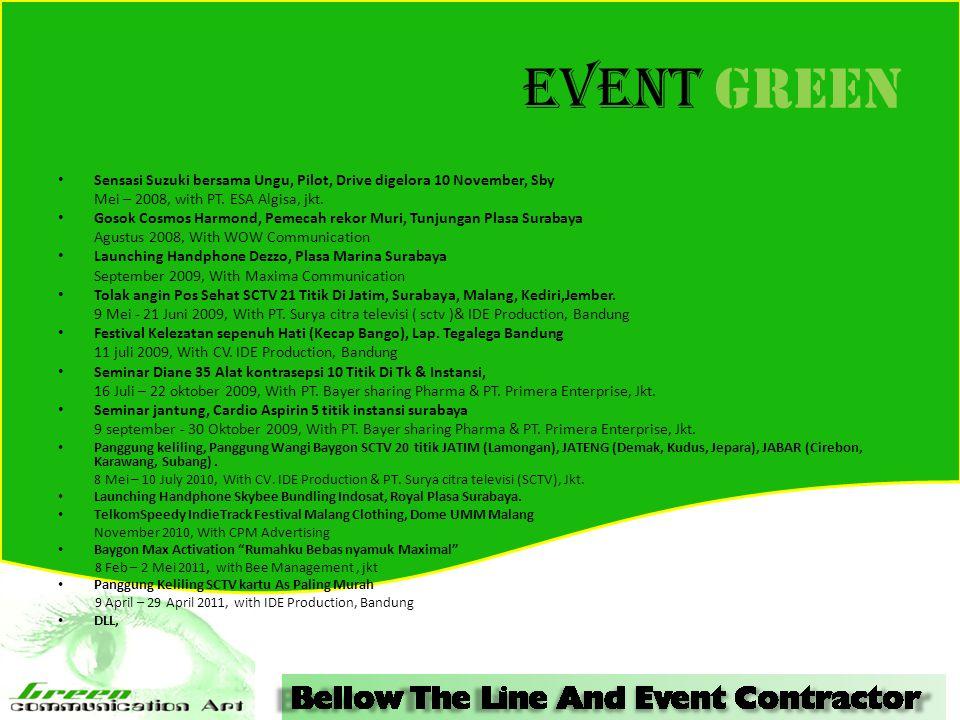 Event GREEN Sensasi Suzuki bersama Ungu, Pilot, Drive digelora 10 November, Sby. Mei – 2008, with PT. ESA Algisa, jkt.