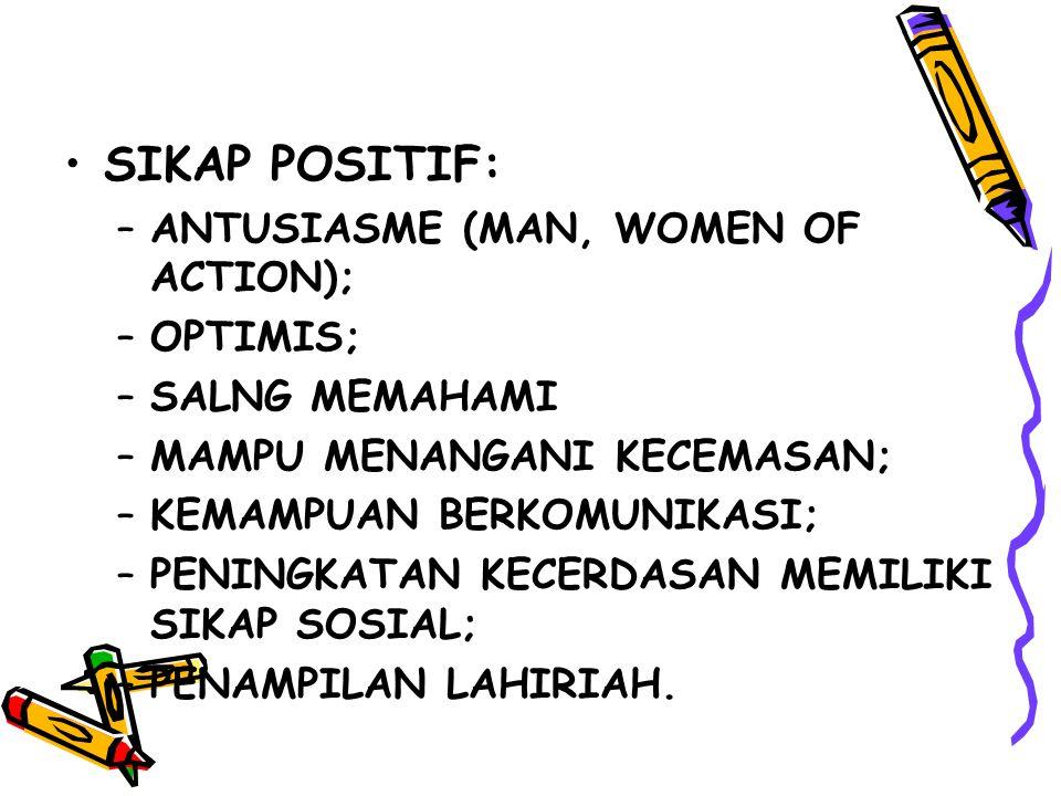 SIKAP POSITIF: ANTUSIASME (MAN, WOMEN OF ACTION); OPTIMIS;