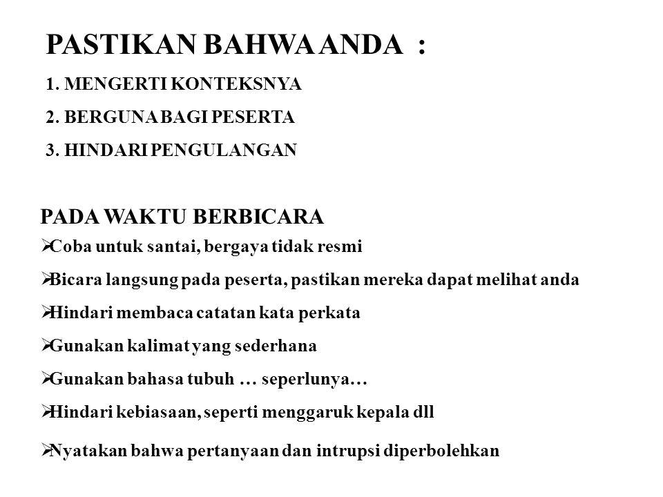 PASTIKAN BAHWA ANDA : PADA WAKTU BERBICARA 1. MENGERTI KONTEKSNYA