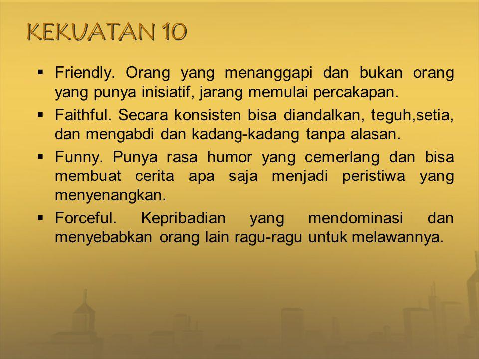 KEKUATAN 10 Friendly. Orang yang menanggapi dan bukan orang yang punya inisiatif, jarang memulai percakapan.