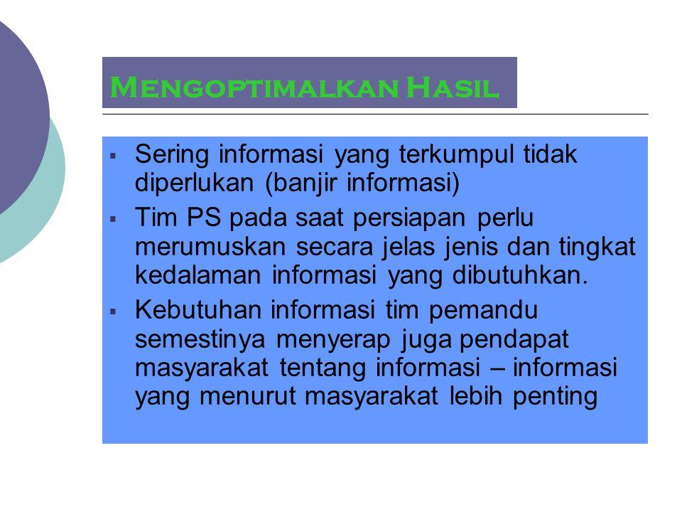 Mengoptimalkan Hasil Sering informasi yang terkumpul tidak diperlukan (banjir informasi)