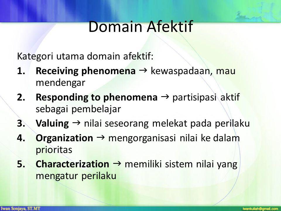 Domain Afektif Kategori utama domain afektif: