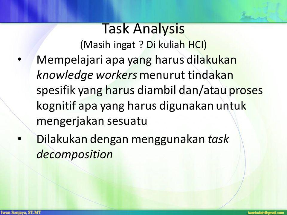 Task Analysis (Masih ingat Di kuliah HCI)