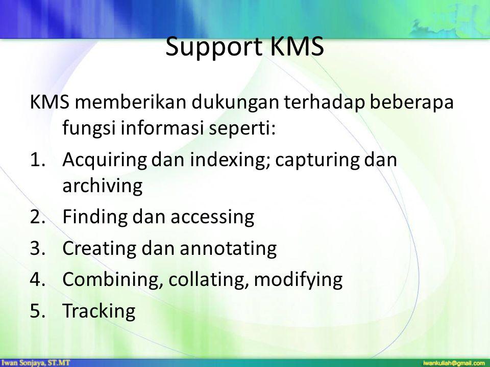 Support KMS KMS memberikan dukungan terhadap beberapa fungsi informasi seperti: Acquiring dan indexing; capturing dan archiving.