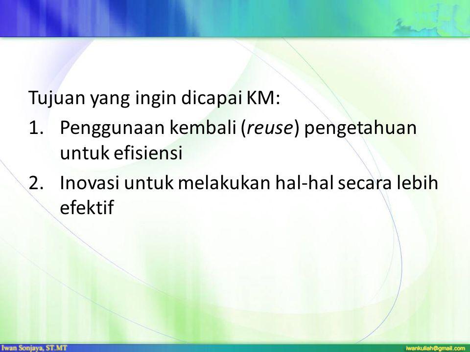 Tujuan yang ingin dicapai KM: