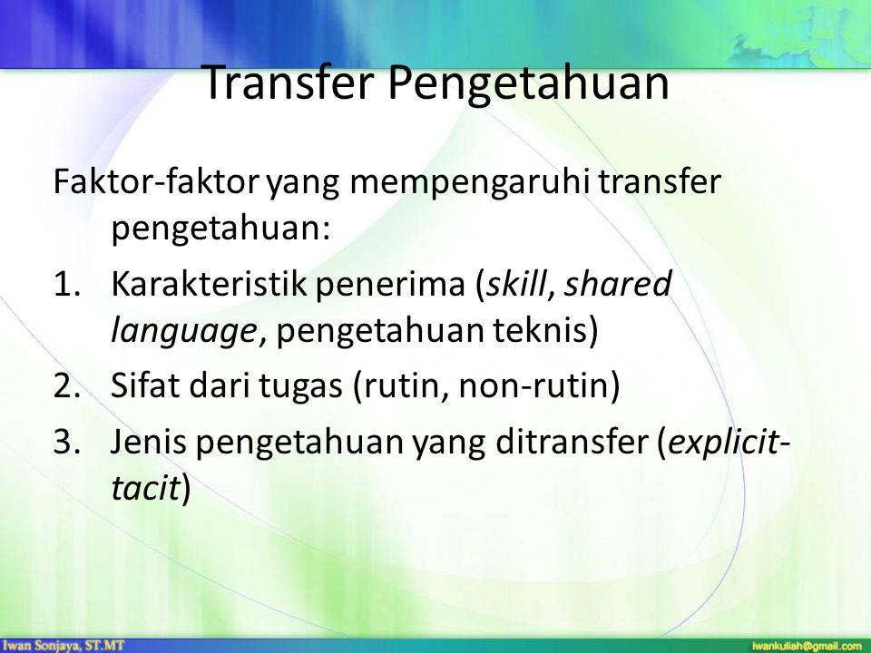 Transfer Pengetahuan Faktor-faktor yang mempengaruhi transfer pengetahuan: Karakteristik penerima (skill, shared language, pengetahuan teknis)