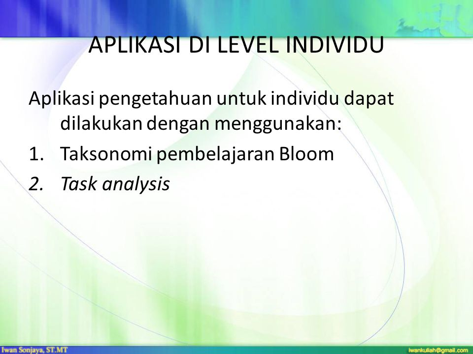 APLIKASI DI LEVEL INDIVIDU