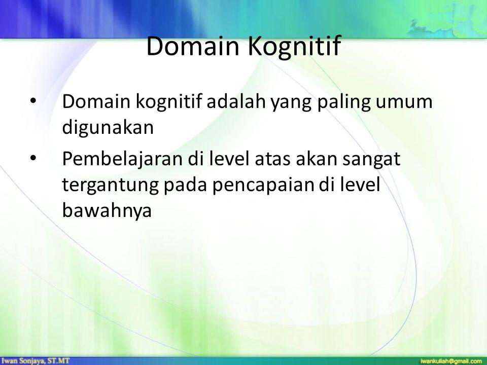 Domain Kognitif Domain kognitif adalah yang paling umum digunakan
