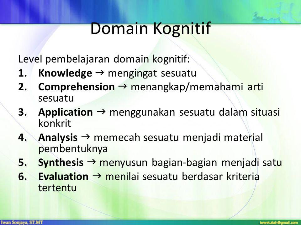 Domain Kognitif Level pembelajaran domain kognitif: