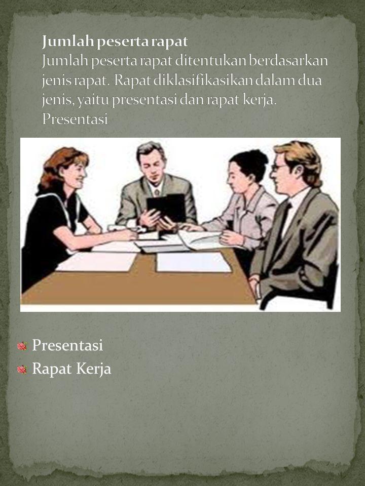Jumlah peserta rapat Jumlah peserta rapat ditentukan berdasarkan jenis rapat. Rapat diklasifikasikan dalam dua jenis, yaitu presentasi dan rapat kerja. Presentasi