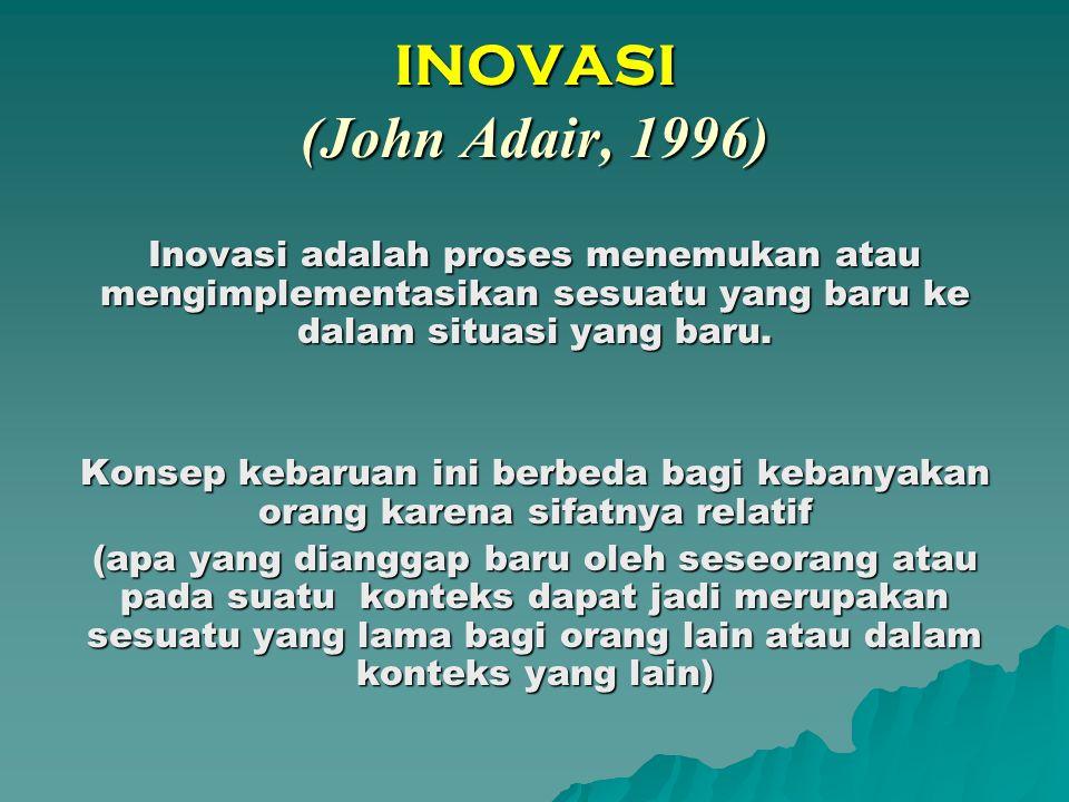 INOVASI (John Adair, 1996) Inovasi adalah proses menemukan atau mengimplementasikan sesuatu yang baru ke dalam situasi yang baru.