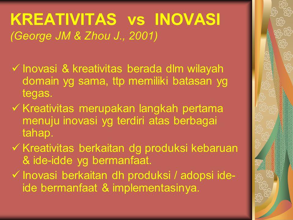 KREATIVITAS vs INOVASI (George JM & Zhou J., 2001)