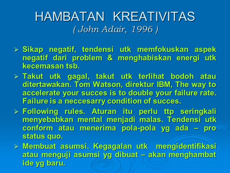 HAMBATAN KREATIVITAS ( John Adair, 1996 )