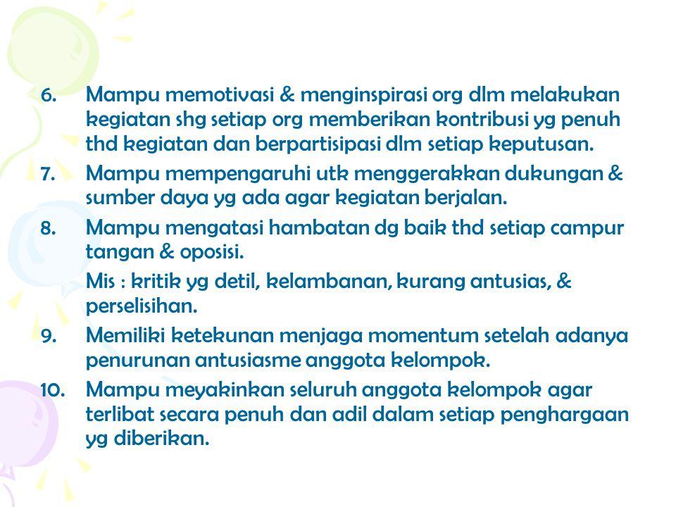 6. Mampu memotivasi & menginspirasi org dlm melakukan kegiatan shg setiap org memberikan kontribusi yg penuh thd kegiatan dan berpartisipasi dlm setiap keputusan.