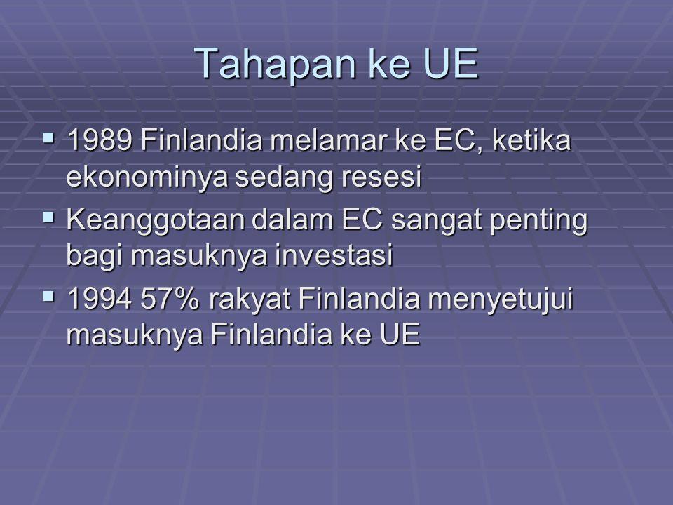 Tahapan ke UE 1989 Finlandia melamar ke EC, ketika ekonominya sedang resesi. Keanggotaan dalam EC sangat penting bagi masuknya investasi.