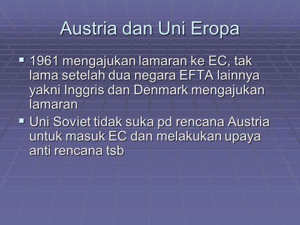Austria dan Uni Eropa 1961 mengajukan lamaran ke EC, tak lama setelah dua negara EFTA lainnya yakni Inggris dan Denmark mengajukan lamaran.