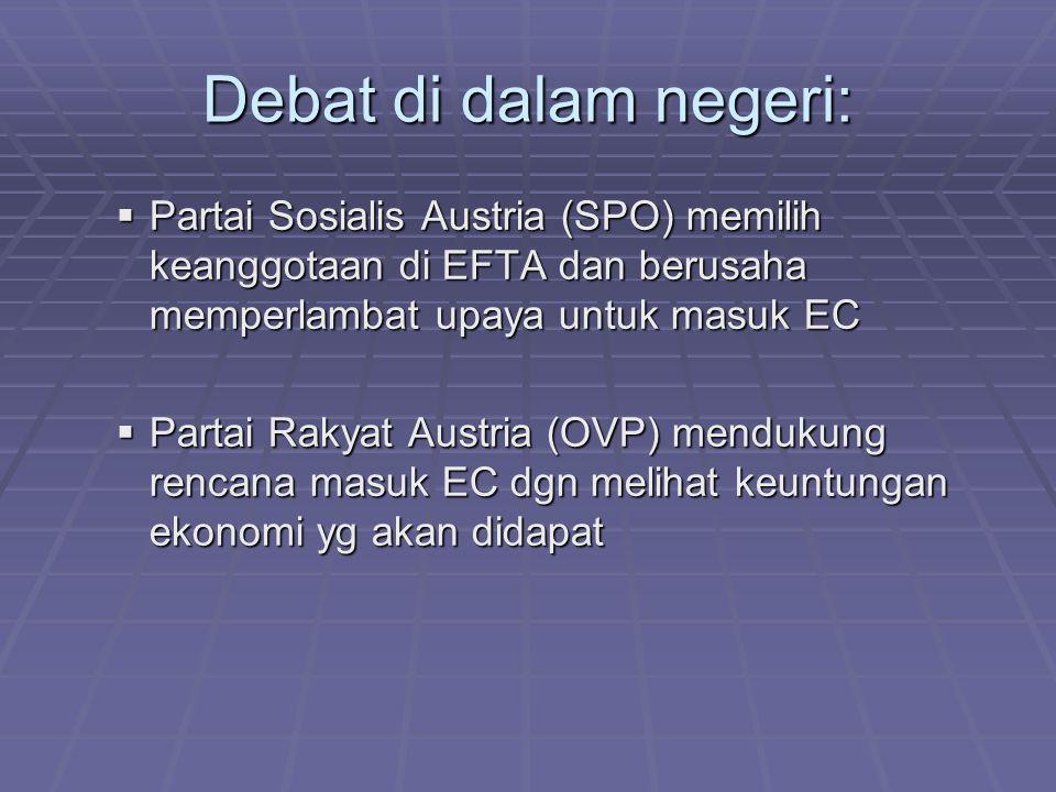 Debat di dalam negeri: Partai Sosialis Austria (SPO) memilih keanggotaan di EFTA dan berusaha memperlambat upaya untuk masuk EC.