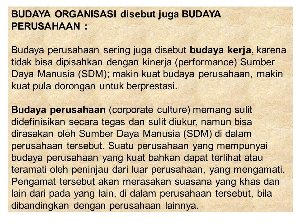 BUDAYA ORGANISASI disebut juga BUDAYA PERUSAHAAN :