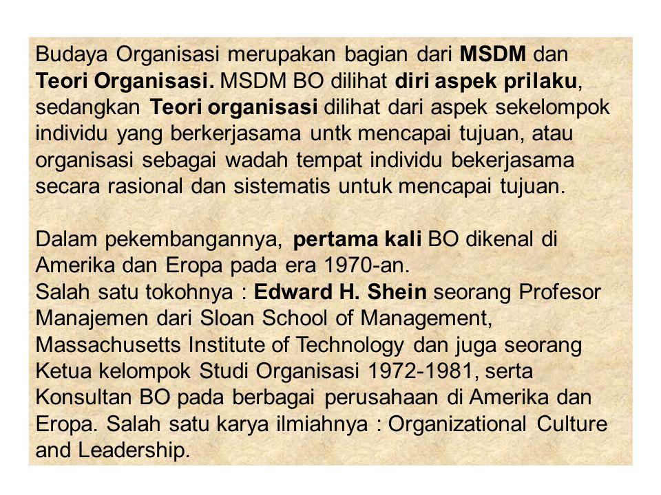 Budaya Organisasi merupakan bagian dari MSDM dan Teori Organisasi