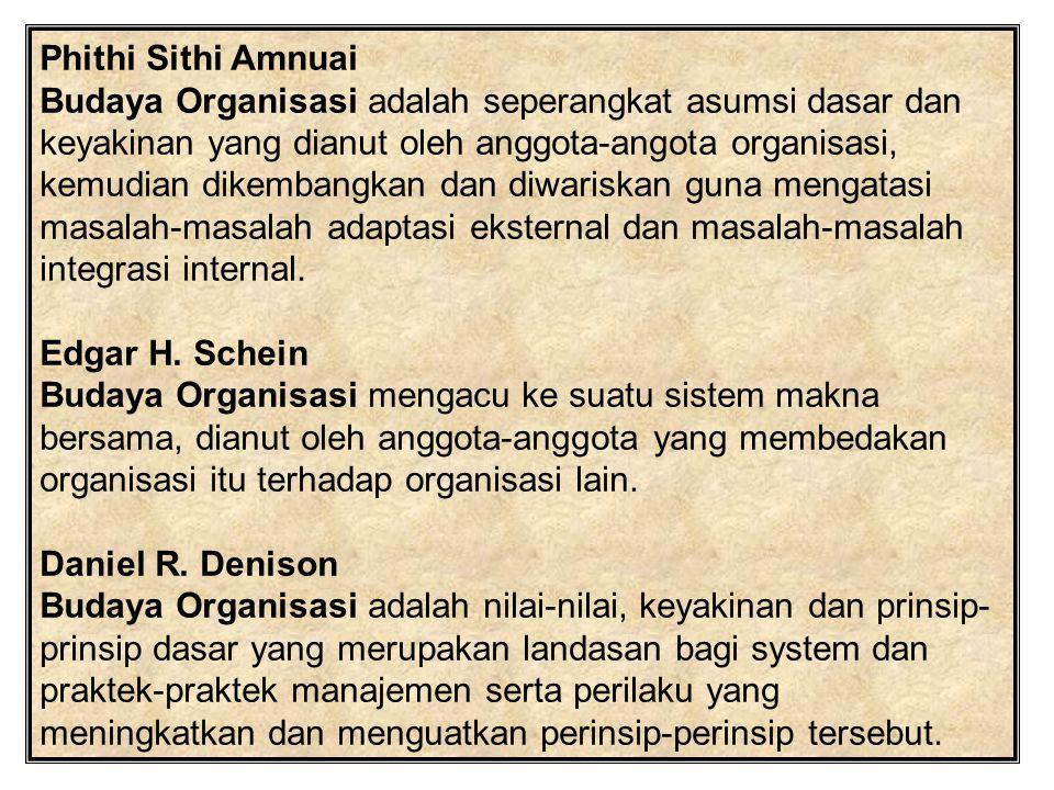 Phithi Sithi Amnuai Budaya Organisasi adalah seperangkat asumsi dasar dan keyakinan yang dianut oleh anggota-angota organisasi, kemudian dikembangkan dan diwariskan guna mengatasi masalah-masalah adaptasi eksternal dan masalah-masalah integrasi internal.