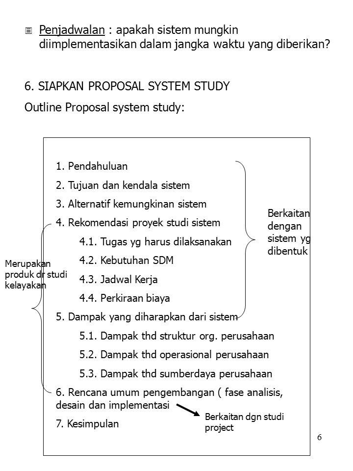 6. SIAPKAN PROPOSAL SYSTEM STUDY Outline Proposal system study: