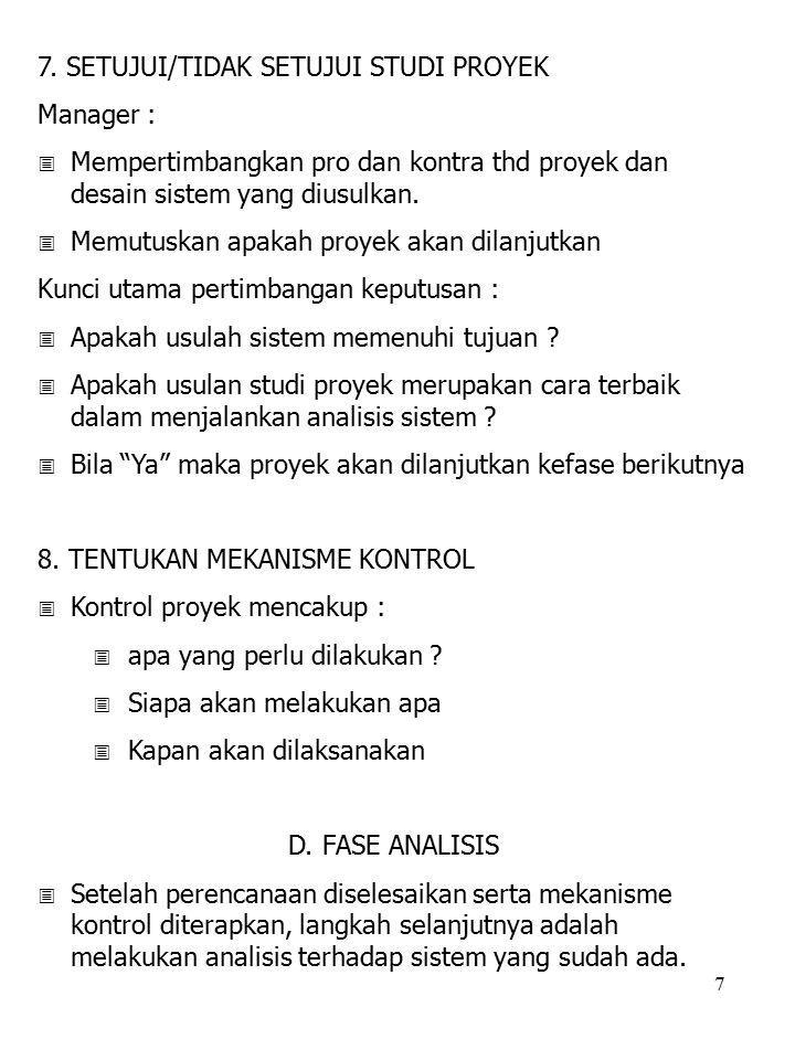 7. SETUJUI/TIDAK SETUJUI STUDI PROYEK