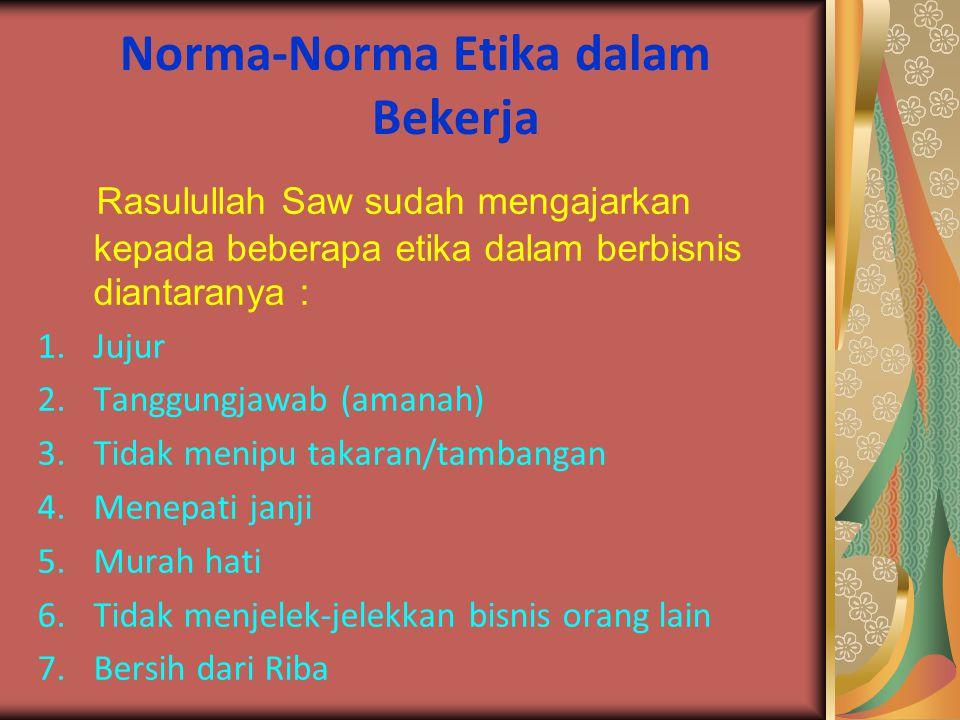 Norma-Norma Etika dalam Bekerja
