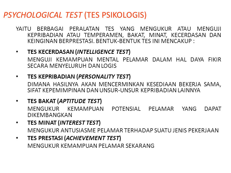 PSYCHOLOGICAL TEST (TES PSIKOLOGIS)