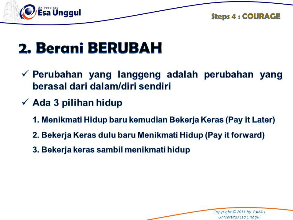 Steps 4 : COURAGE 2. Berani BERUBAH. Perubahan yang langgeng adalah perubahan yang berasal dari dalam/diri sendiri.