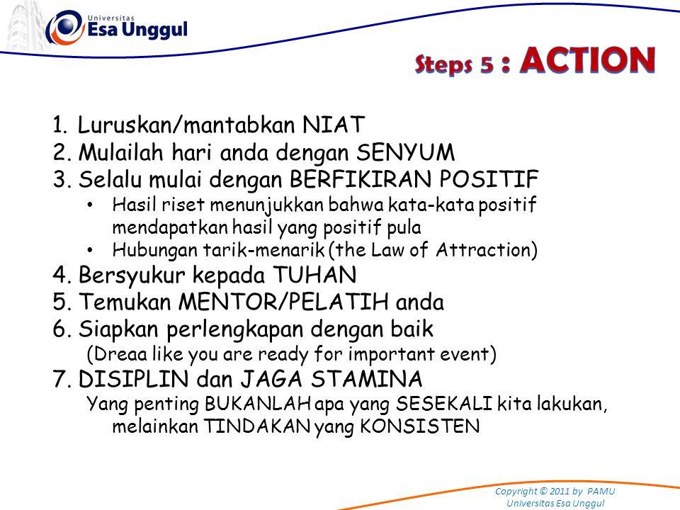 Steps 5 : ACTION Luruskan/mantabkan NIAT