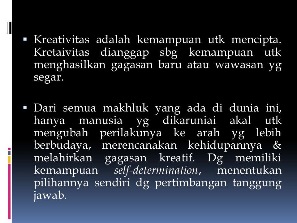 Kreativitas adalah kemampuan utk mencipta