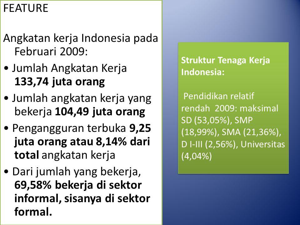 FEATURE Angkatan kerja Indonesia pada Februari 2009: • Jumlah Angkatan Kerja 133,74 juta orang • Jumlah angkatan kerja yang bekerja 104,49 juta orang • Pengangguran terbuka 9,25 juta orang atau 8,14% dari total angkatan kerja • Dari jumlah yang bekerja, 69,58% bekerja di sektor informal, sisanya di sektor formal.
