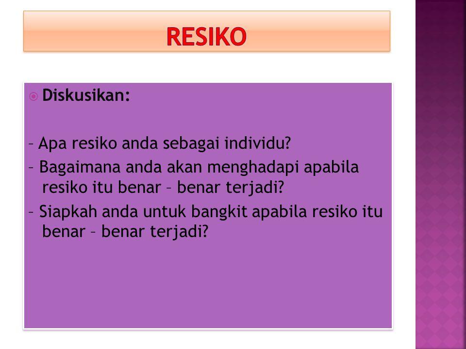 RESIKO Diskusikan: – Apa resiko anda sebagai individu