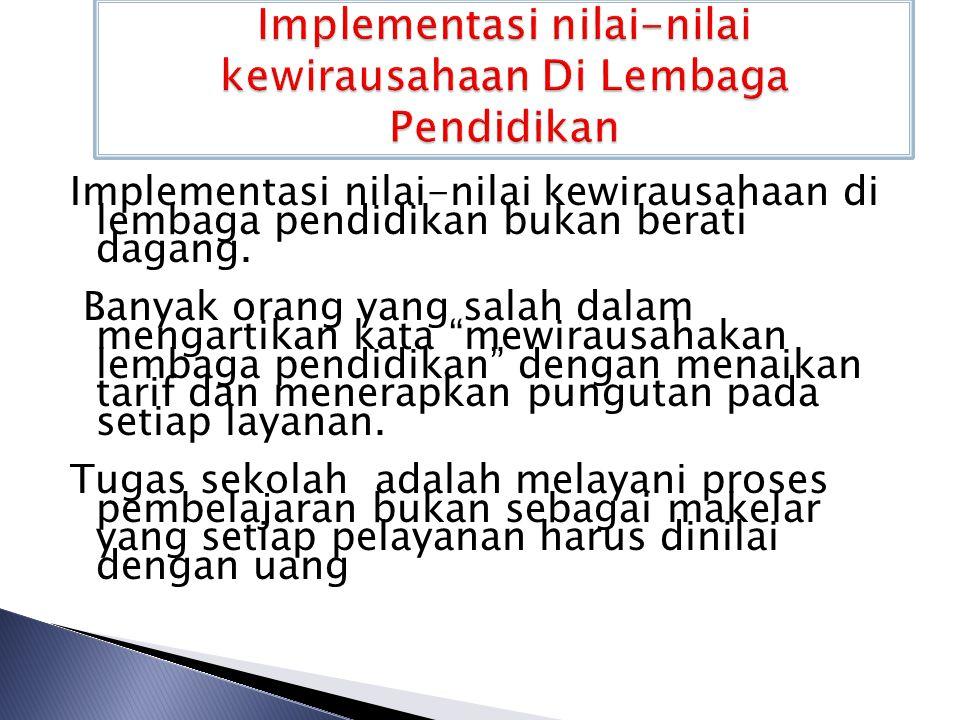 Implementasi nilai-nilai kewirausahaan Di Lembaga Pendidikan