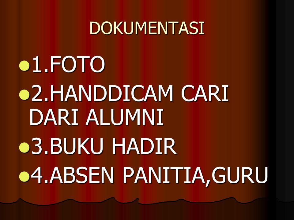 2.HANDDICAM CARI DARI ALUMNI 3.BUKU HADIR 4.ABSEN PANITIA,GURU