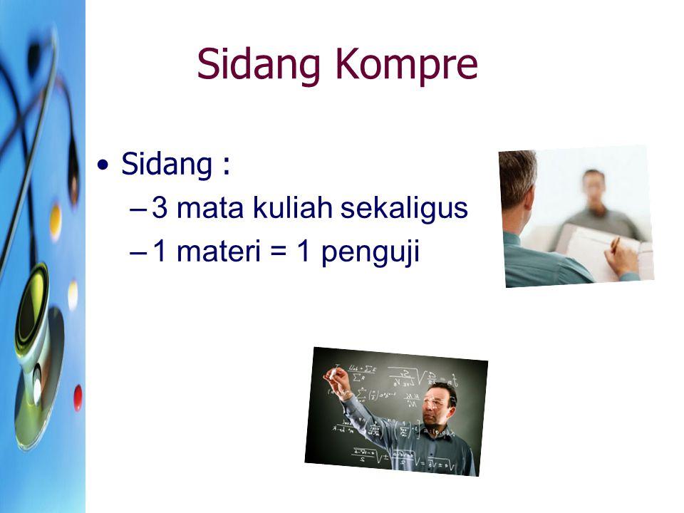 Sidang Kompre Sidang : 3 mata kuliah sekaligus 1 materi = 1 penguji
