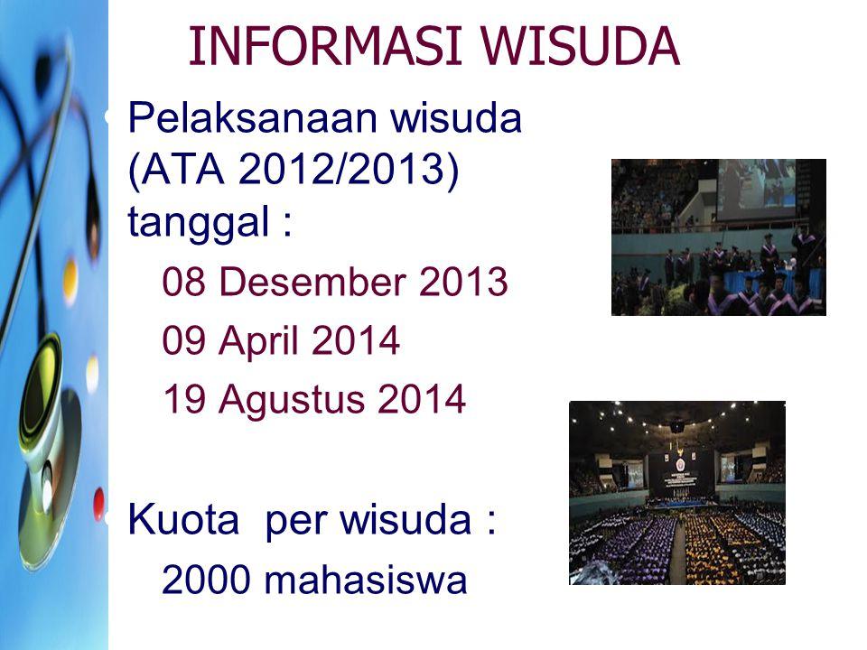 INFORMASI WISUDA Pelaksanaan wisuda (ATA 2012/2013) tanggal :