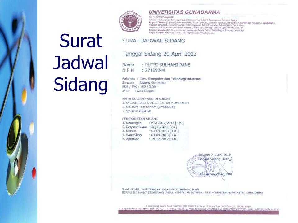 Surat Jadwal Sidang