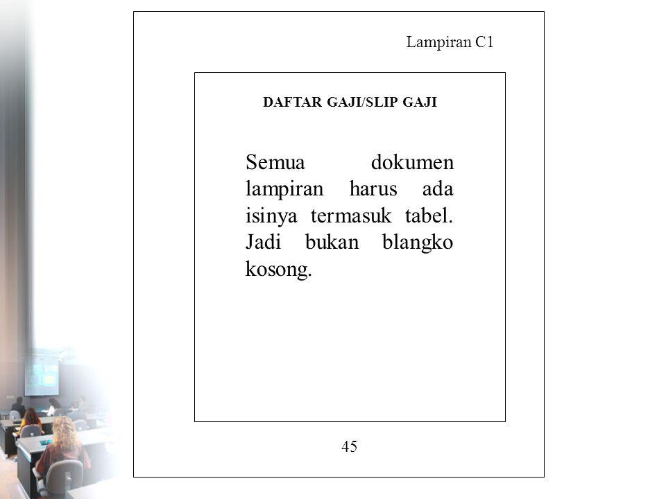 Lampiran C1 DAFTAR GAJI/SLIP GAJI. Semua dokumen lampiran harus ada isinya termasuk tabel. Jadi bukan blangko kosong.