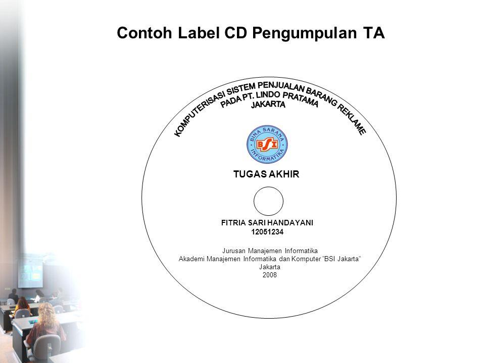 Contoh Label CD Pengumpulan TA