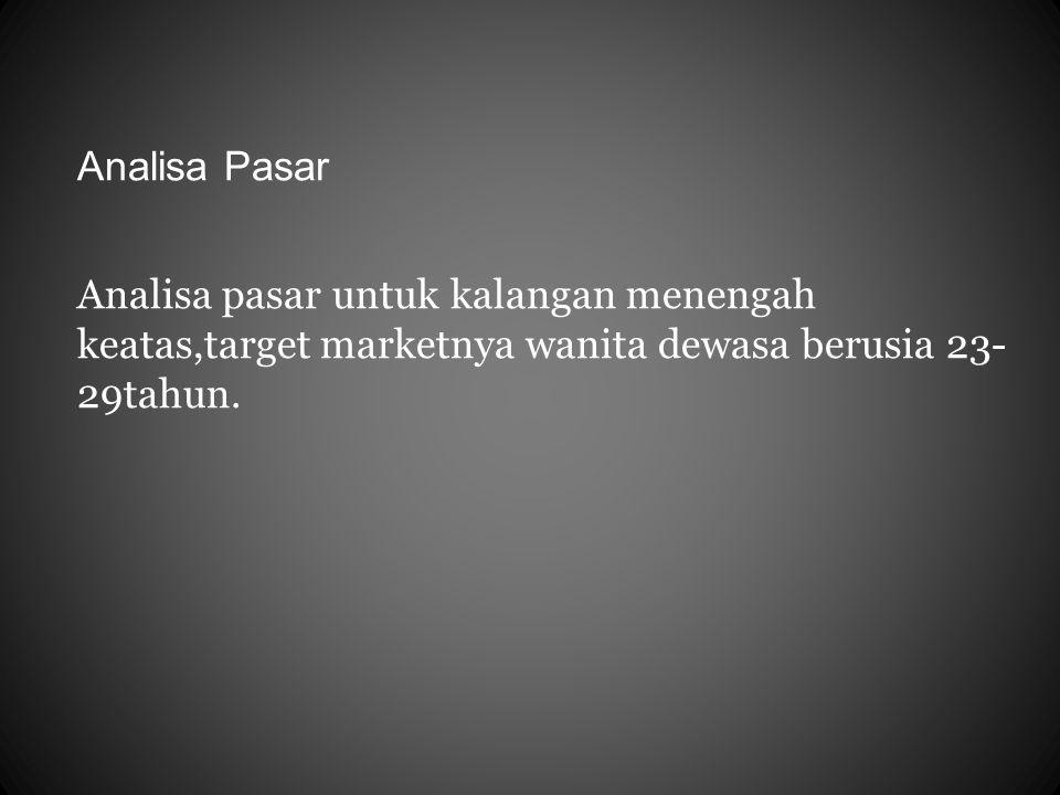 Analisa Pasar Analisa pasar untuk kalangan menengah keatas,target marketnya wanita dewasa berusia 23-29tahun.