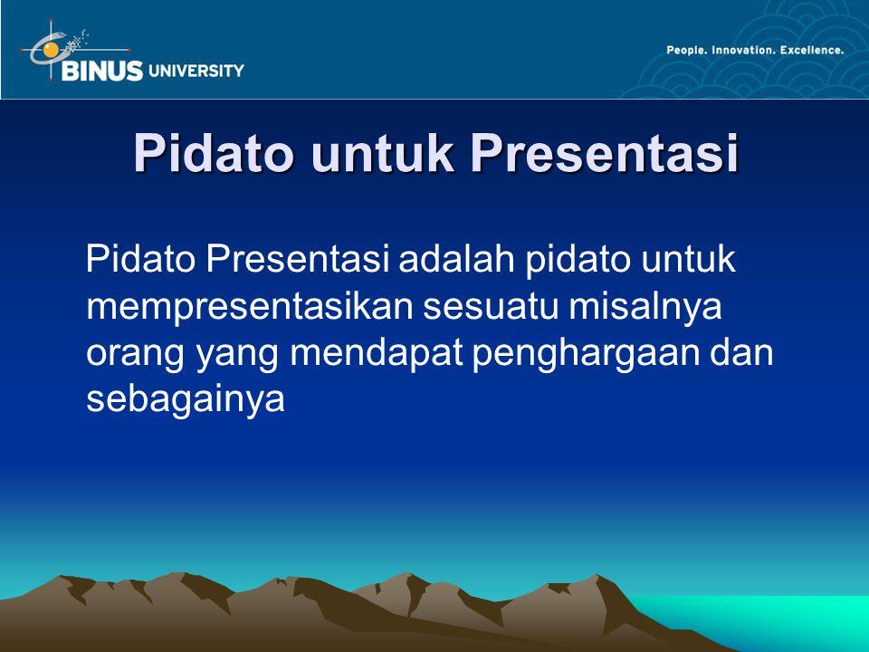 Pidato untuk Presentasi