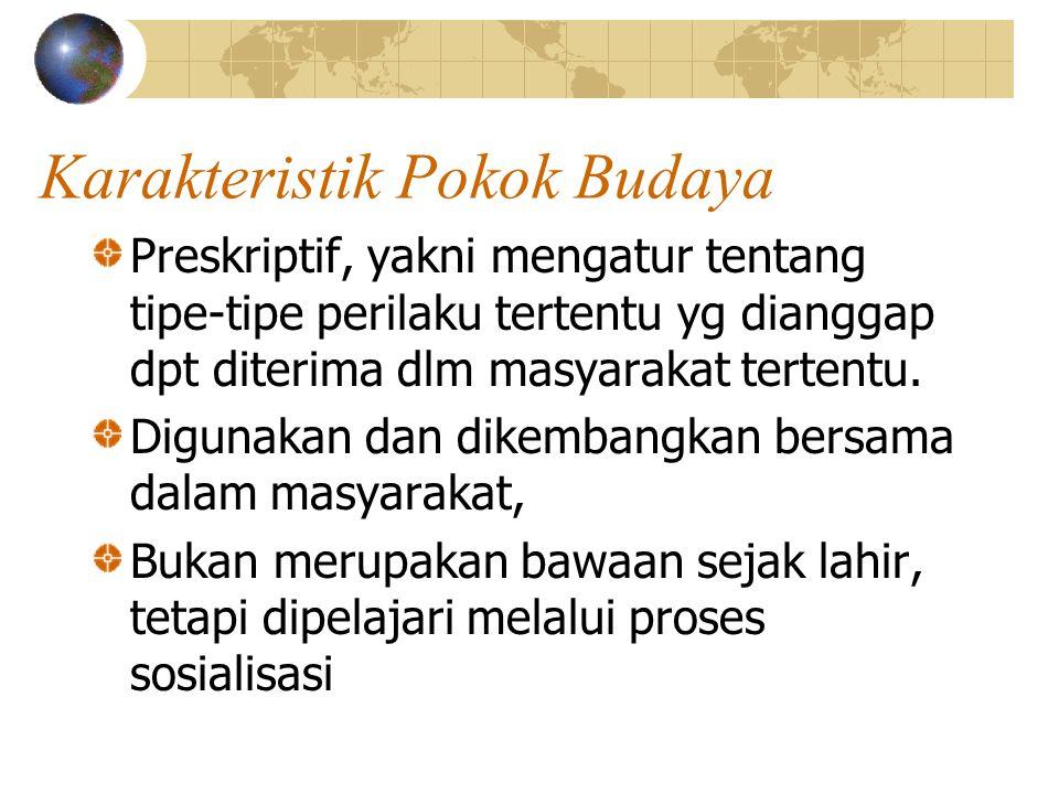 Karakteristik Pokok Budaya