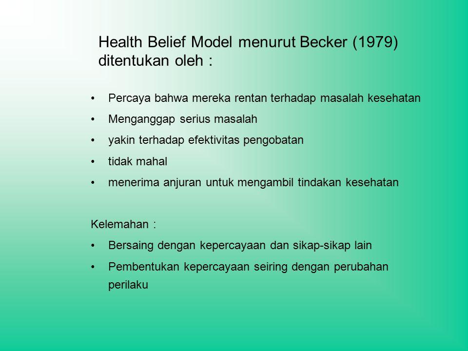 Health Belief Model menurut Becker (1979) ditentukan oleh :