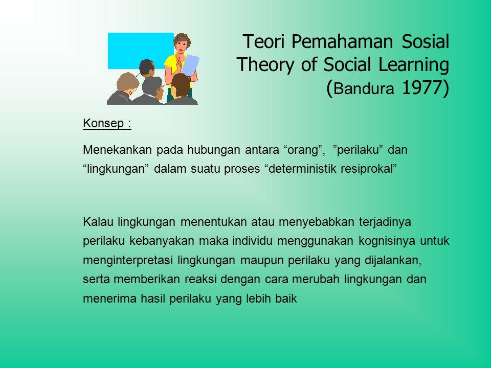 Teori Pemahaman Sosial Theory of Social Learning (Bandura 1977)