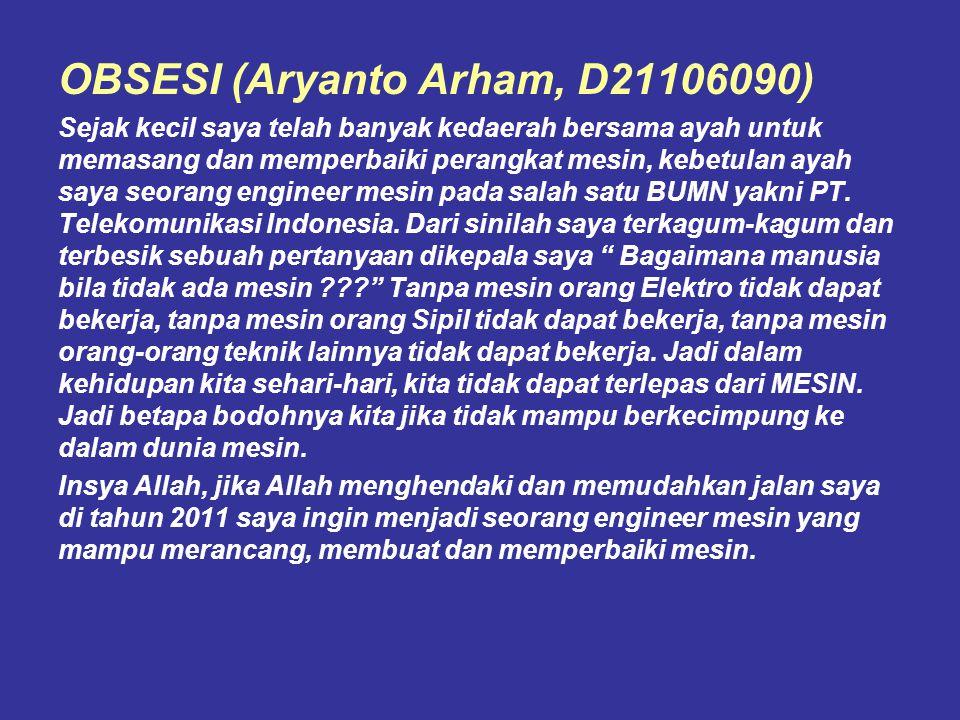 OBSESI (Aryanto Arham, D21106090)