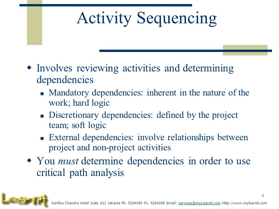 Activity Sequencing Involves reviewing activities and determining dependencies.