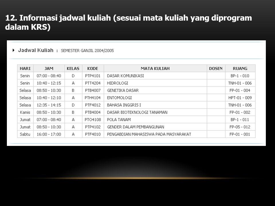 12. Informasi jadwal kuliah (sesuai mata kuliah yang diprogram dalam KRS)